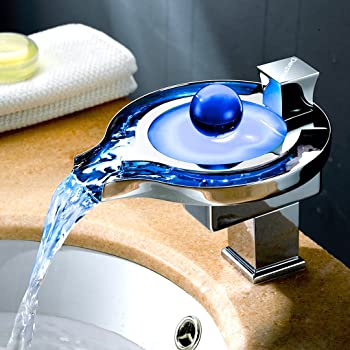 Derpras Bathroom Sink Faucet with Water Power LED