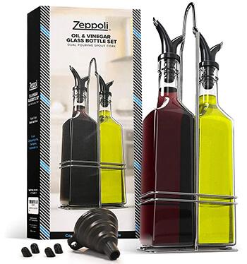 Zeppoli, Olive Oil And Vinegar Bottle Glass Set