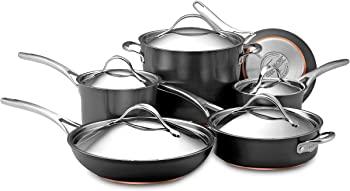 Anolon Nouvelle Copper Hard Anodized Nonstick Cookware Pots and Pans Set