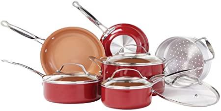 BulbHead Red Copper 10 PC Copper-Infused Ceramic Non-Stick Cookware Set