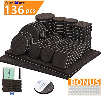 Furnimate Furniture Pads 136 Pieces Pack Self Adhesive Felt Pad