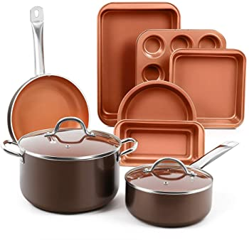SHINEURI 6 Pieces Nonstick Copper Pan Set